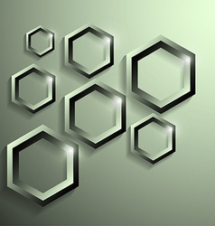 Modern metallic polygonal shape with shadow vector