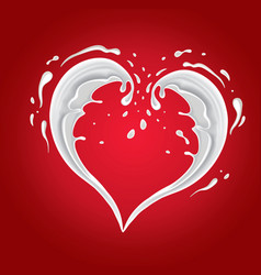 red background with milk splash shape heart vector image vector image