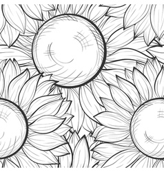 seamless background with sunflowers vector image vector image