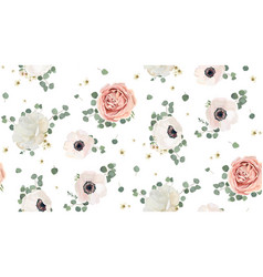 Seamless pattern floral watercolor design garden vector
