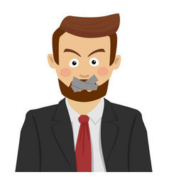 Serious businessman with scotch-tape on his mouth vector