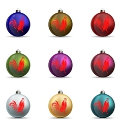 Set colors christmas balls vector