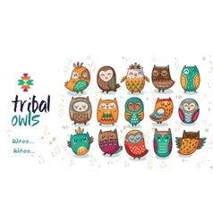 Set of tribal owls vector