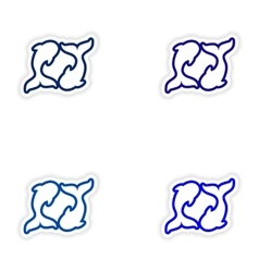 Set paper stickers on white background pair of vector image