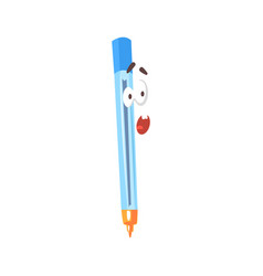 surprised cartoon blue pen comic character vector image