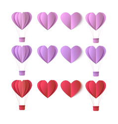valentines origami heart symbols set vector image vector image