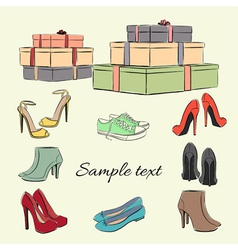 Various fashionable color shoes and boxes vector image