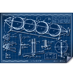 Vintage kids plane project on blueprint vector