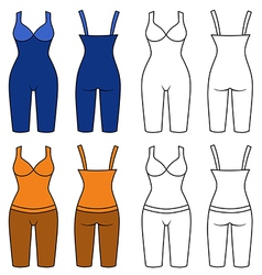 Woman outlined slimming underwear set vector