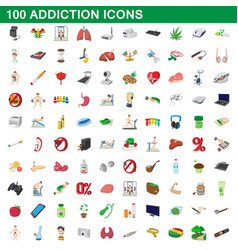 100 addiction icons set cartoon style vector
