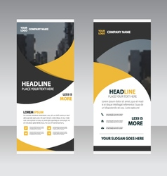 Yellow black business roll up banner flat design vector