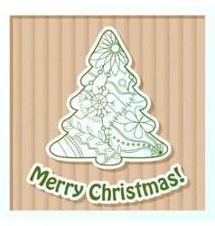 Merry Christmas card on cardboard with tree vector image