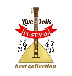 Live folk music festival emblem vector