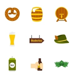 Holiday of beer icons set flat style vector