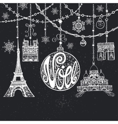 Christmasnoe cardgarlandsballparis landmark vector