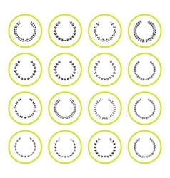 Set round icons of laurel wreath and modern frames vector