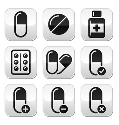 Pill medicine buttons set vector