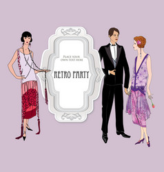 Retro fashion party card background man woman vector