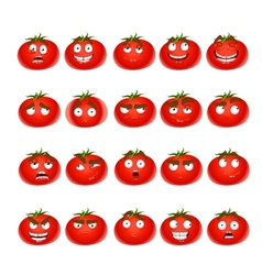 Cute cartoon tomato smile with many expressions vector