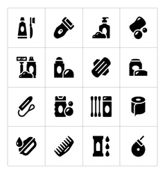 Set icons of hygiene vector
