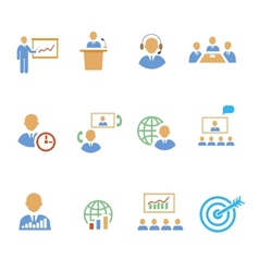 Set of colorful business people strategic icons vector