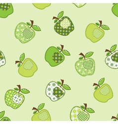 Seamless pattern with green patchwork apples vector