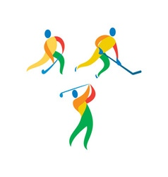 Field hockey ice hockey golf icon vector