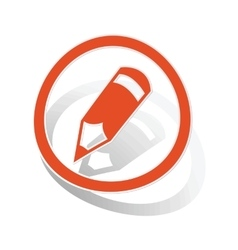 Pencil sign sticker orange vector