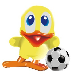 Duck with ball vector