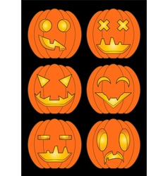 Set of pumpkins in color vector