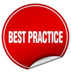 Best practice round red sticker isolated on white vector
