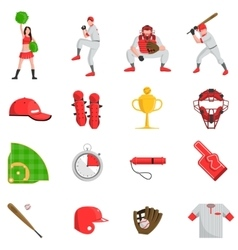 Baseball flat set vector image