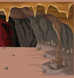cave interior background in deep mountain vector image