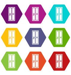closed wooden door icon set color hexahedron vector image
