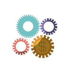 Colorful silhouette of gears representing economic vector