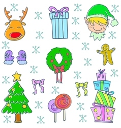 Doodle of christmas set art vector image