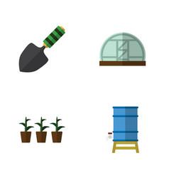 flat icon garden set of hothouse flowerpot vector image