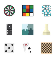 Flat icon play set of cube ace chess table and vector