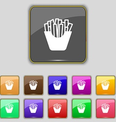 Fry icon sign set with eleven colored buttons for vector