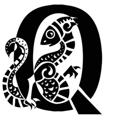 gargoyle capital letter q vector image