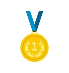 Golden medal flat icon vector