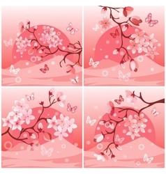 Japanese cherry tree set vector
