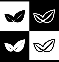 Leaf sign black and white vector