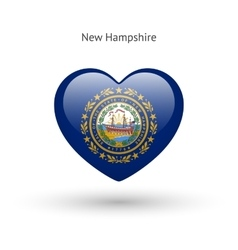 Love New Hampshire state symbol Heart flag icon vector image