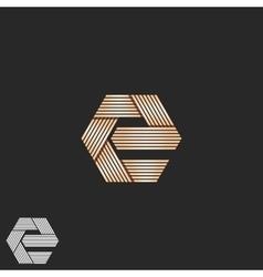 Luxury letter e orange monogram overlapping vector