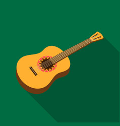 mexican acoustic guitar icon in flat style vector image vector image