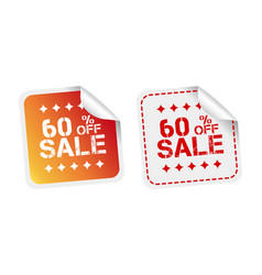 Sale stickers 60 percent off on white background vector
