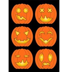 Set of pumpkins in color vector image vector image