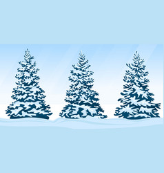 set of snow-covered firs vector image
