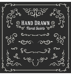 Set of the hand drawn floral swirls vector